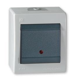Sklopka jednopolna sa indikacijom za na zid IP44 sivi Aling 2511.1A