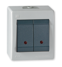Sklopka serijska sa indikacijom za na zid IP44 sivi Aling 2521.1A