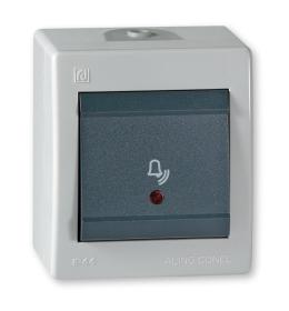 Taster sklopka za zvono sa indikacijom za na zid IP 44 sivi Aling 256I.1A
