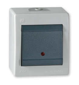 Sklopka jednopolna indikatorska za na zid IP44 sivi Aling 2591.1A