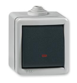 Sklopka jednopolona sa indikacijom za na zid IP55 2811.1A Aling