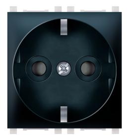 Priključnica 2p 2M šuko sa zaštitom kontakata crna Aling EXP