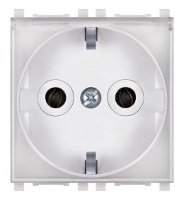Priključnica 2p 2M šuko sa transparentnim poklopcem bela Aling EXP
