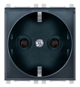 Priključnica 2p 2M šuko sa transparentnim poklopcem crna Aling EXP