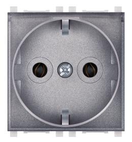 Priključnica 2p 2M šuko sa transparentnim poklopcem silver Aling EXP
