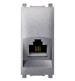 Priključnica telefonska 1M RJ12 silver 6/4 Aling EXP
