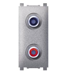 Priključnica audio 1M 2xRCA silver Aling EXP