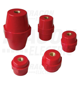 Potporni izolator crvena,  h=76mm - navoj: M10