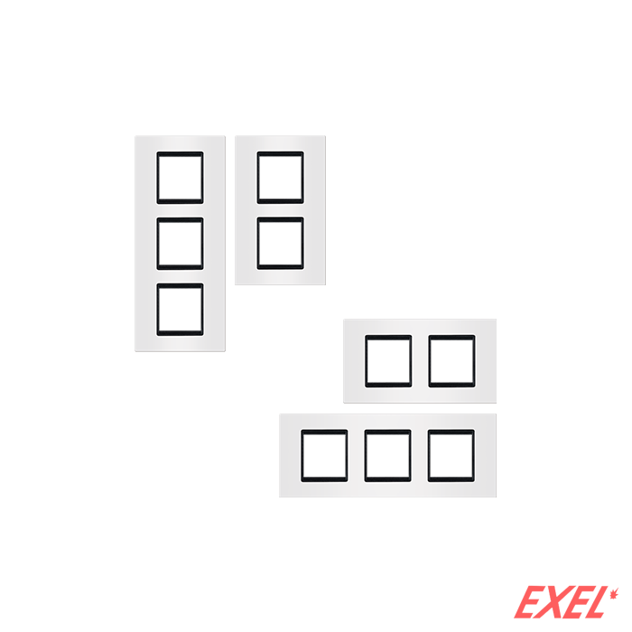 Maska 3X2M EXP BASIC, vertikalna, bela sa crnim nosačem