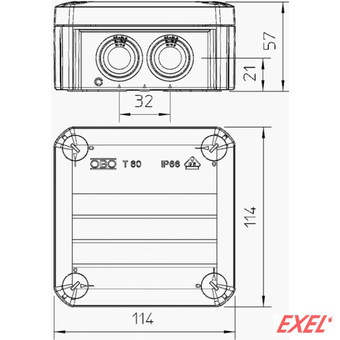 Kutija T60 IP66 114x114x57 OBO BETTERMANN