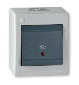 Taster sklopka za svetlo za na zid IP44 sivi Aling 255I.1A