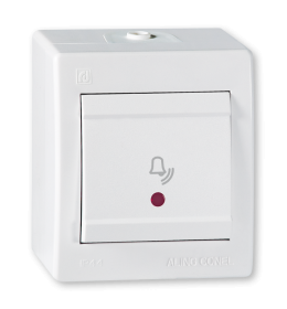 Taster sklopka za zvono sa indikacijom za na zid IP44 beli Aling 256I.00