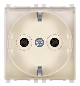 Priključnica 2p 2M šuko sa transparentnim poklopcem krem Aling EXP