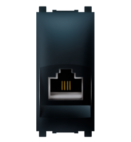 Priključnica telefonska 1M RJ12 crna 6/4 Aling EXP
