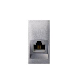 Priključnica telefonska Keystone RJ12 6/6 Cat3 EXP 1M, silver