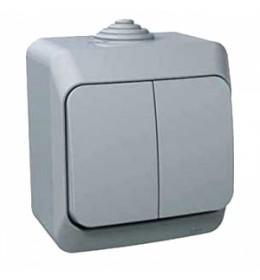 Dupli jednopolni prekidač 16A Sivi